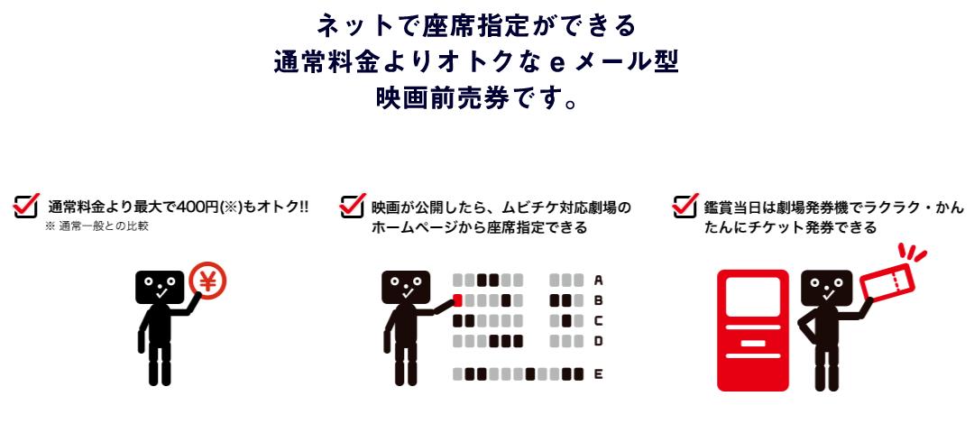 ネットで座席指定ができる通常よりおトクなeメール型映画前売り券です。