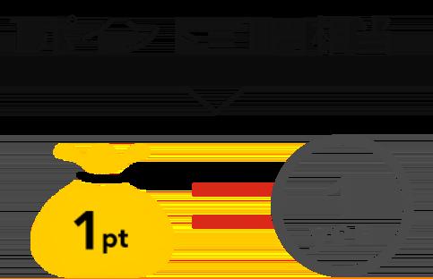 1ポイント=1円相当:1pt=1yen